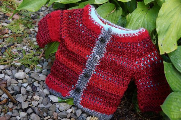Red Silver Baby Crochet Jacket Pattern