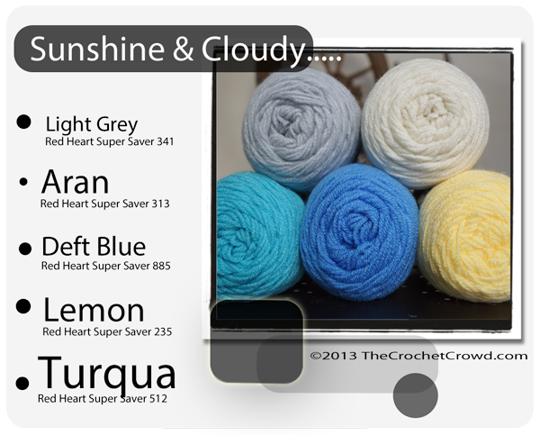 Sunshine and Cloud Day Inspired yarn Colours.